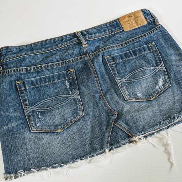 Abercrombie & Fitch Dresses & Skirts - ABERCROMBIE & FITCH Distressed Denim Mini Skirt